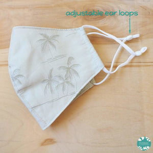 Hawaiian Face Mask + Adjustable Loops ~ Khaki Breezy Palms | face mask