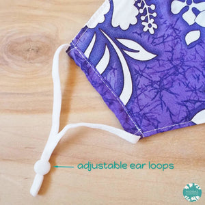 Hawaiian Face Mask + Adjustable Loops ~ Purple Lauae Fern | face mask
