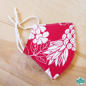 Hawaiian Face Mask + Adjustable Loops ~ Red Koloa | face mask