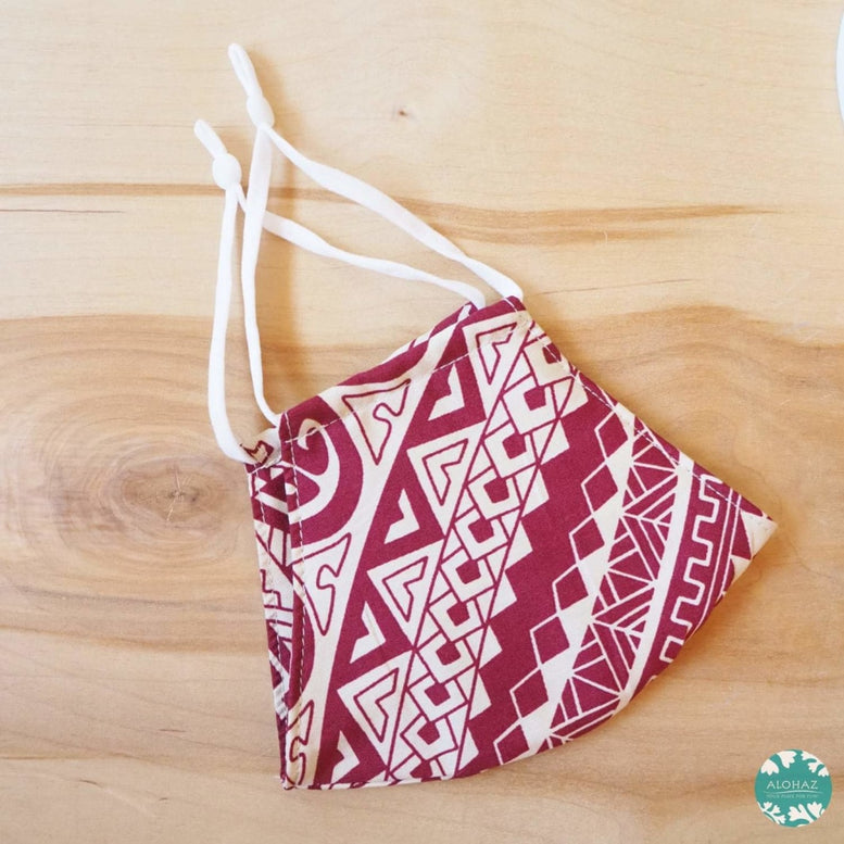 Hawaiian Face Mask + Adjustable Loops ~ Red Tribal | face mask