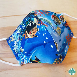 Hawaiian Face Mask + Adjustable Loops ~ Royal Blue Under the Sea | face mask