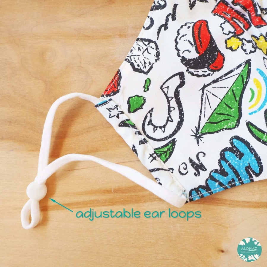 Hawaiian Face Mask + Adjustable Loops ~ White Local Style | face mask
