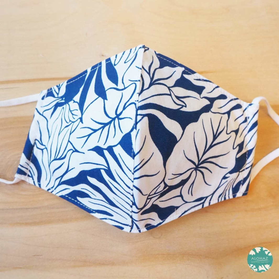 Hawaiian Face Mask + Adjustable Loops ~ White Taro Leaves | face mask