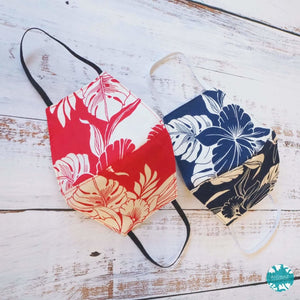Hawaiian Face Mask ~ Navy Orchid Shadow | face mask