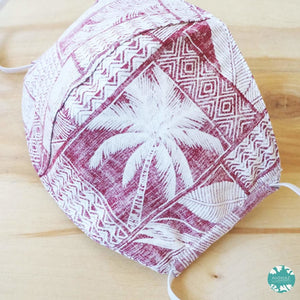 Hawaiian Face Mask for Adults ~ Red Kakaako ~ Trimless | face mask