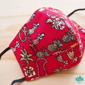 Hawaiian Face Mask for Adults ~ Red Luau ~ Trimless | face mask