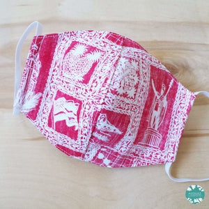 Hawaiian Face Mask for Adults ~ Red Statehood ~ Trimless | face mask