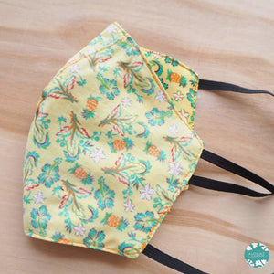 Hawaiian Face Mask for Adults ~ Yellow Waikiki ~ Trimless | face mask