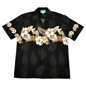 hibiscus black hawaiian border shirt | hawaiian border shirt