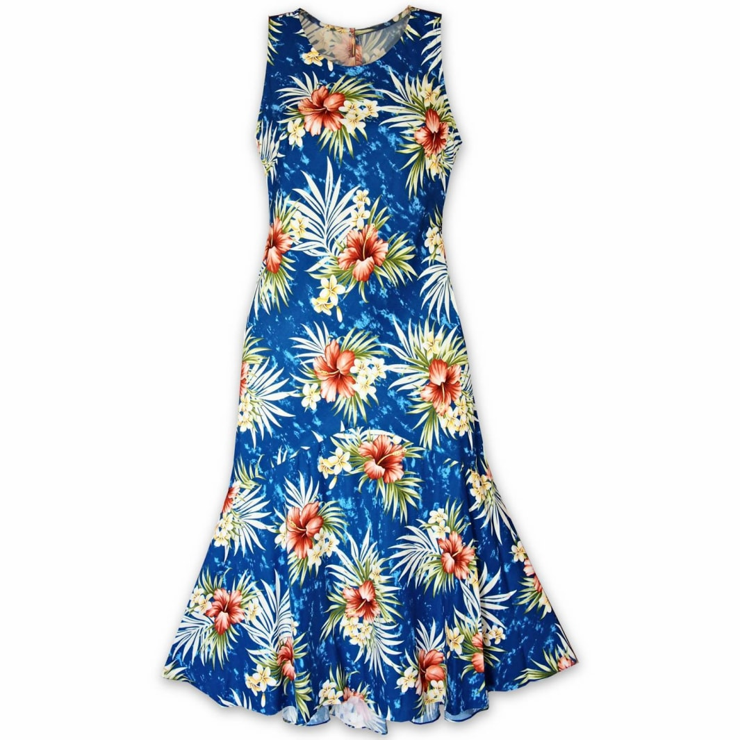 hibiscus isles blue hawaiian lehua dress | long dress hawaiian