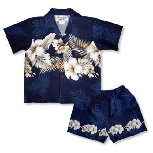 hibiscus navy hawaiian boy border cabana set | hawaiian boy shirt cabana