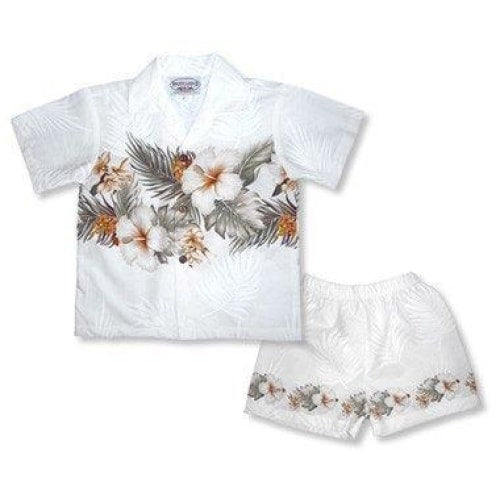 hibiscus white hawaiian boy border cabana set | hawaiian boy shirt cabana