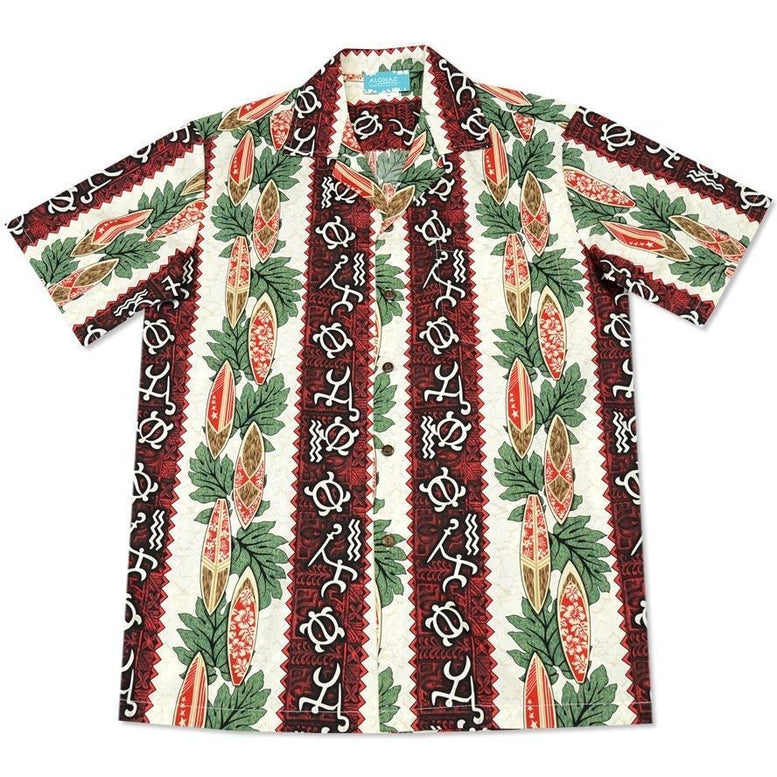 hieroglyph red hawaiian cotton shirt | hawaiian shirt men