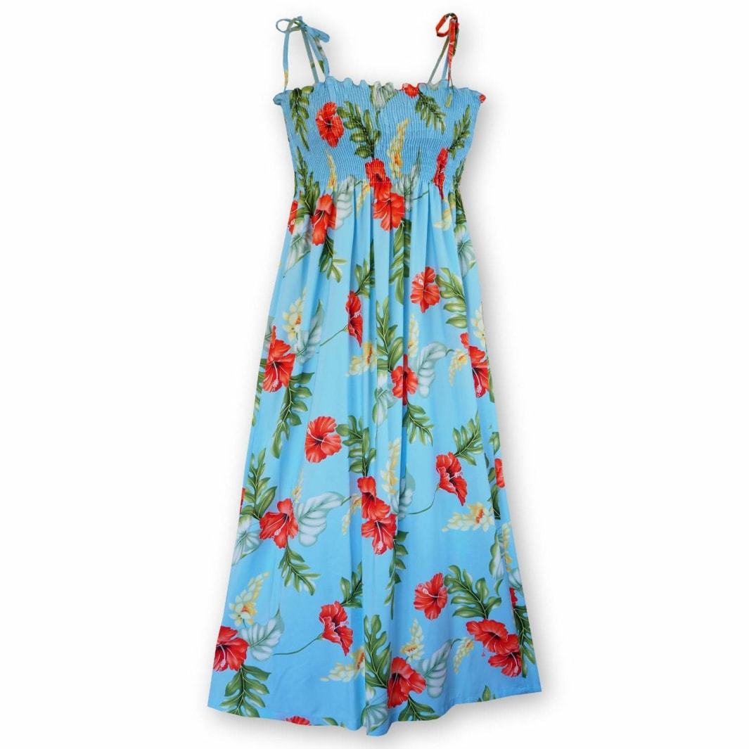 honeymoon blue hawaiian maxi dress | long dress hawaiian
