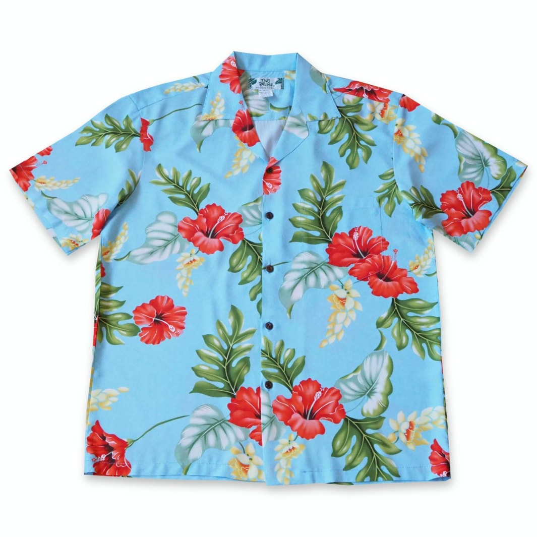 honeymoon blue hawaiian rayon shirt | hawaiian men shirt
