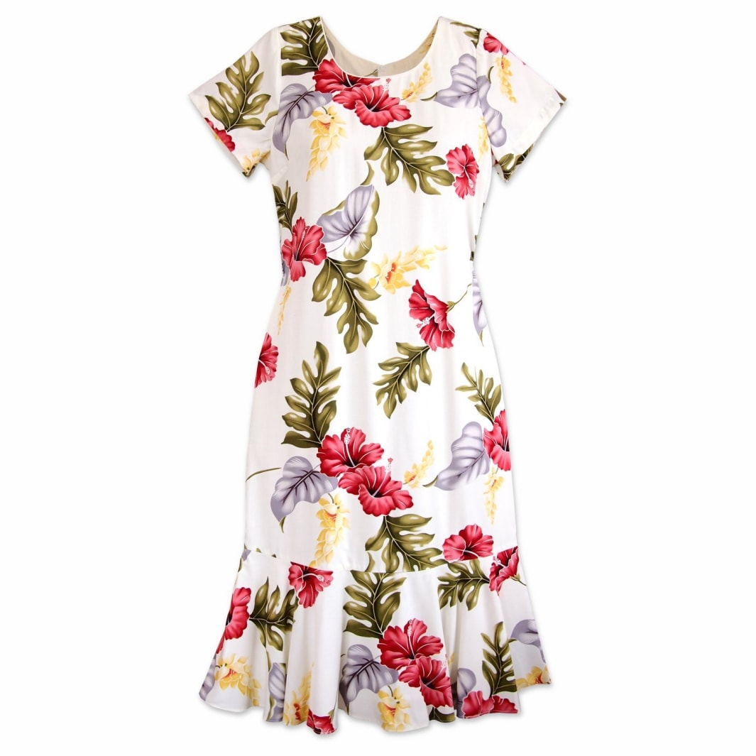 honeymoon cream hawaiian laka dress | hawaiian dress midi midlength