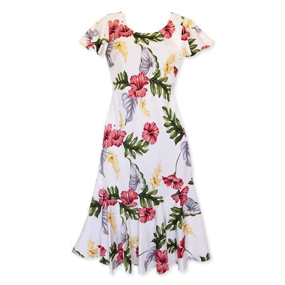 honeymoon cream hawaiian malia dress | hawaiian dress midi midlength