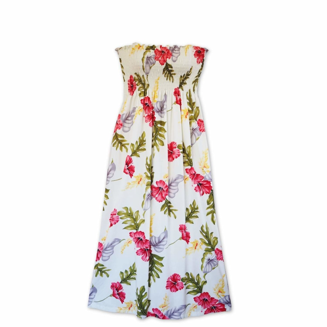 honeymoon cream hawaiian maxi dress | long dress hawaiian