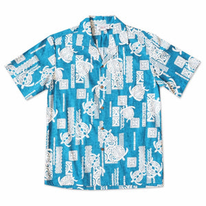 honu blue hawaiian cotton shirt | hawaiian shirt men