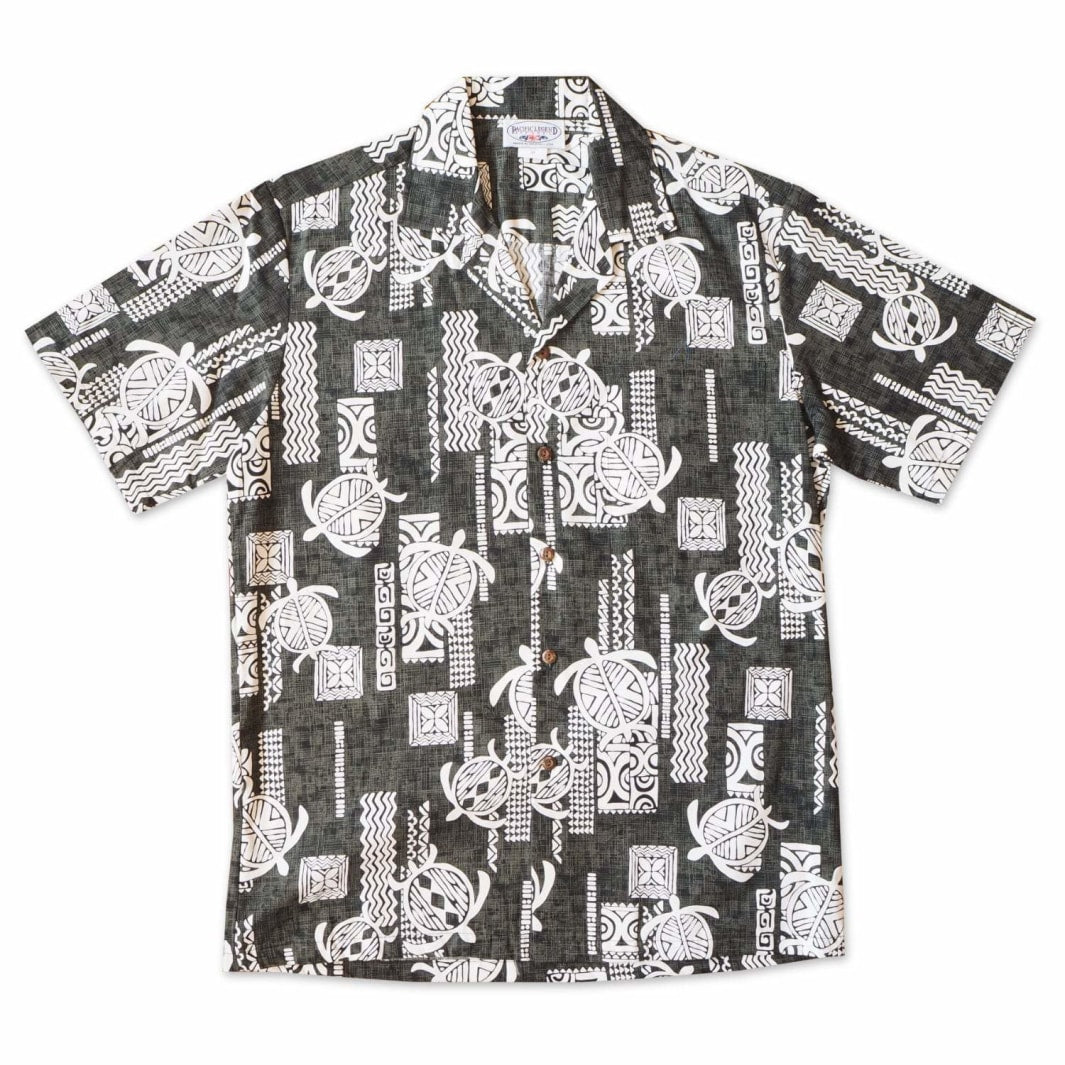 honu grey hawaiian cotton shirt | hawaiian shirt men