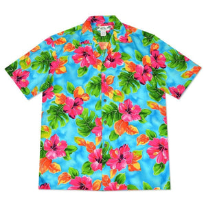 hoopla blue hawaiian aloha rayon shirt | hawaiian men shirt