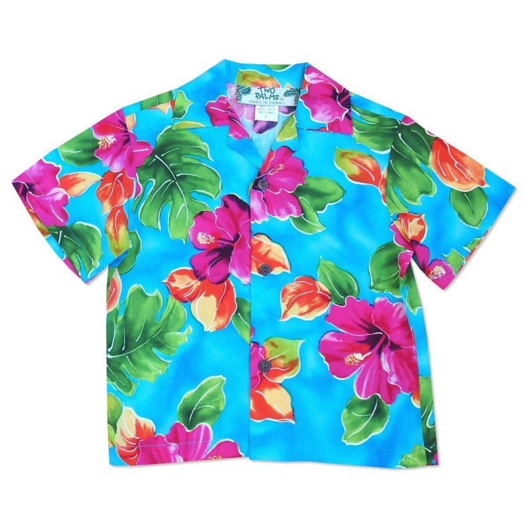 hoopla blue hawaiian boy shirt | hawaiian boy teen shirt