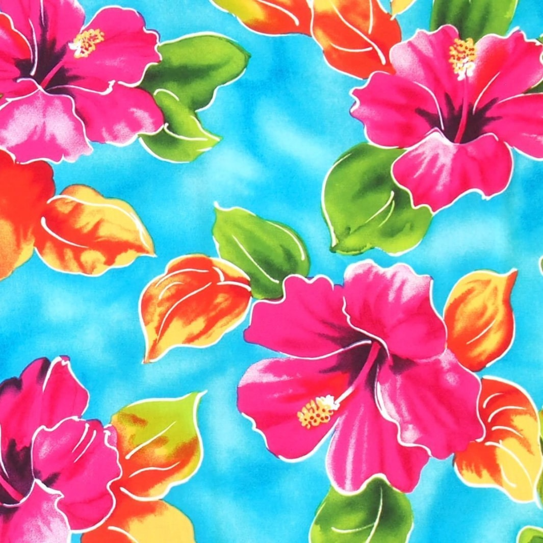 hoopla blue hawaiian fabric | hawaiian fabric rayon