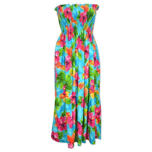 hoopla blue hawaiian maxi dress | long dress hawaiian