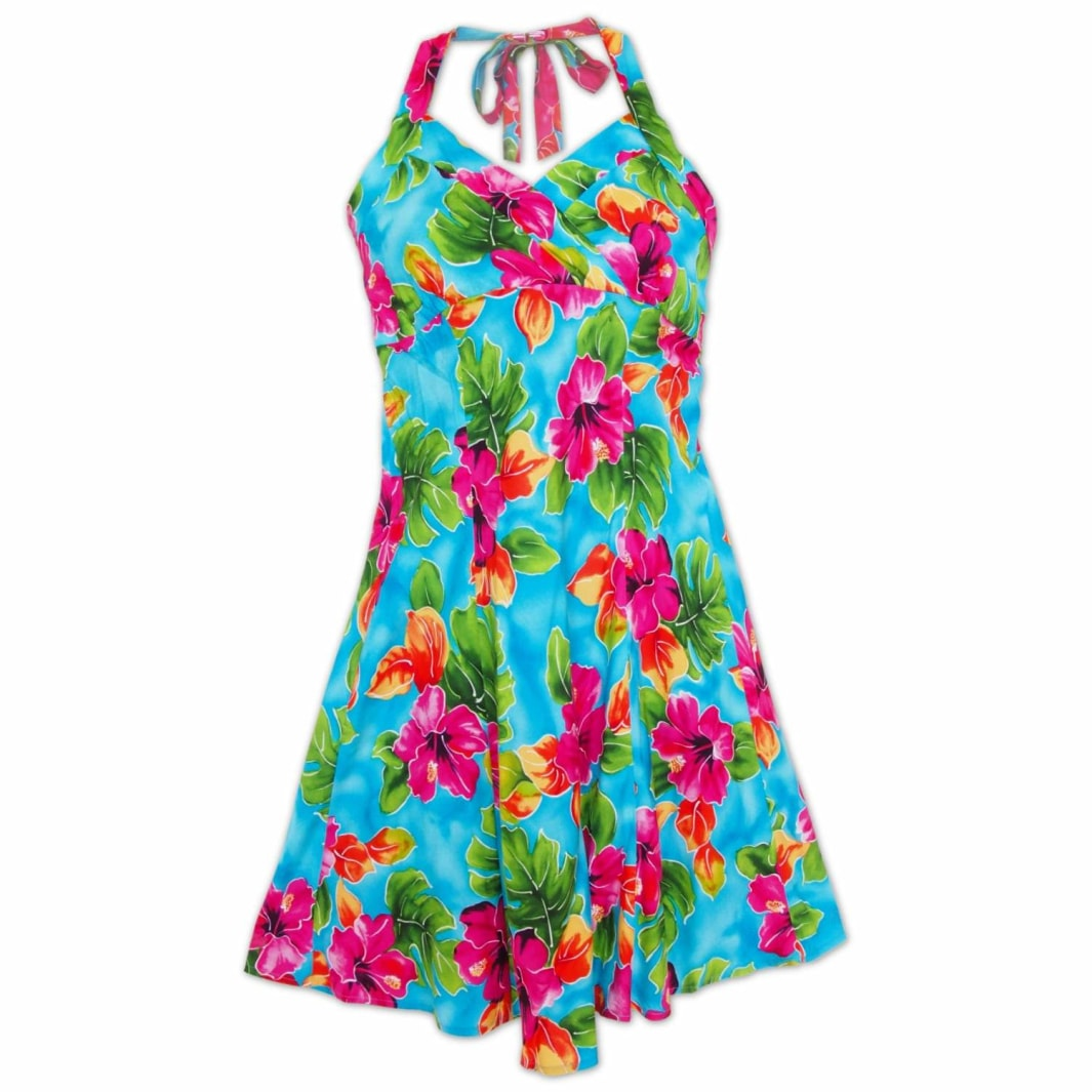 hoopla blue hawaiian napali halter dress | short dress hawaiian