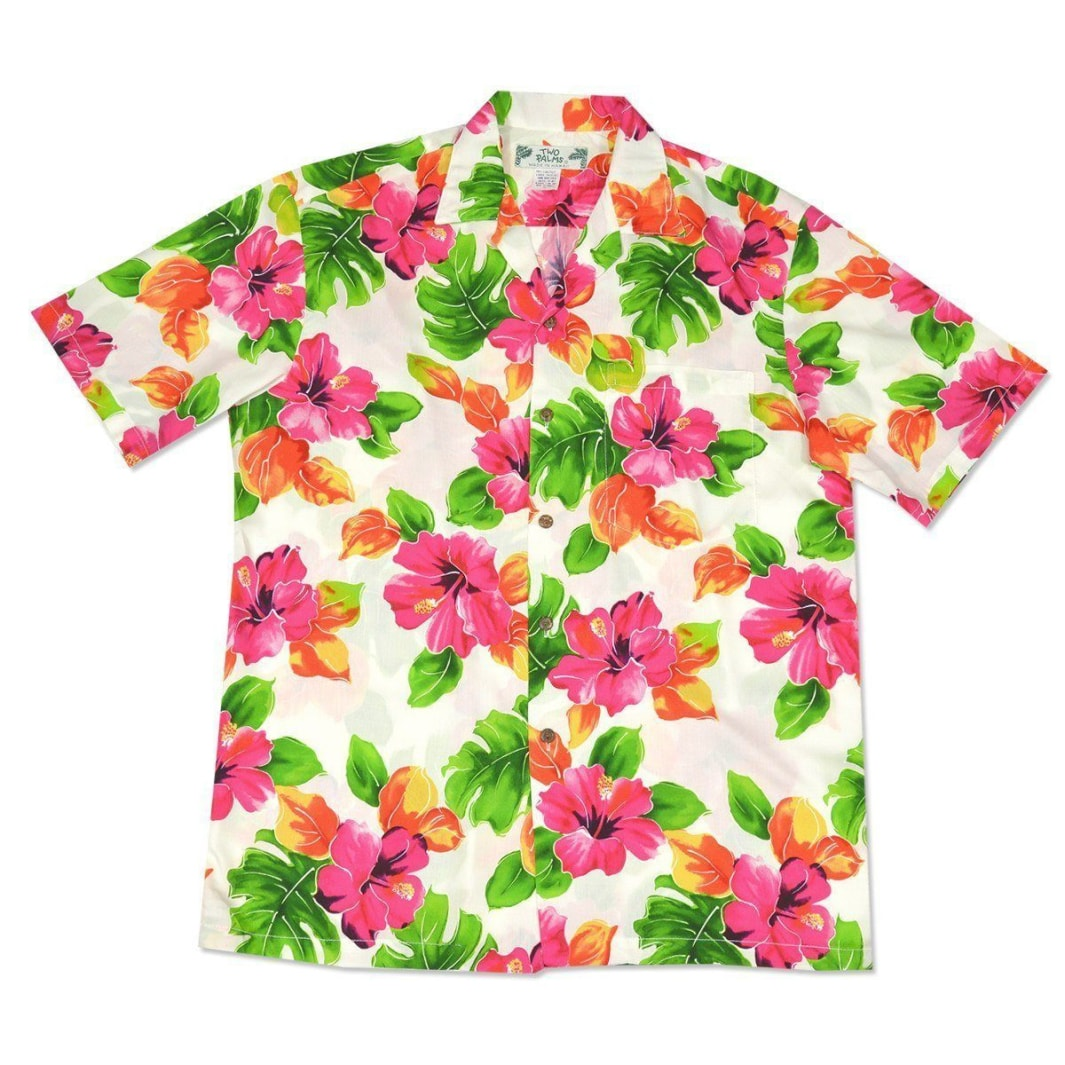hoopla white hawaiian aloha rayon shirt | hawaiian men shirt