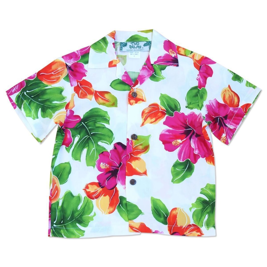 hoopla white hawaiian boy shirt | hawaiian boy teen shirt