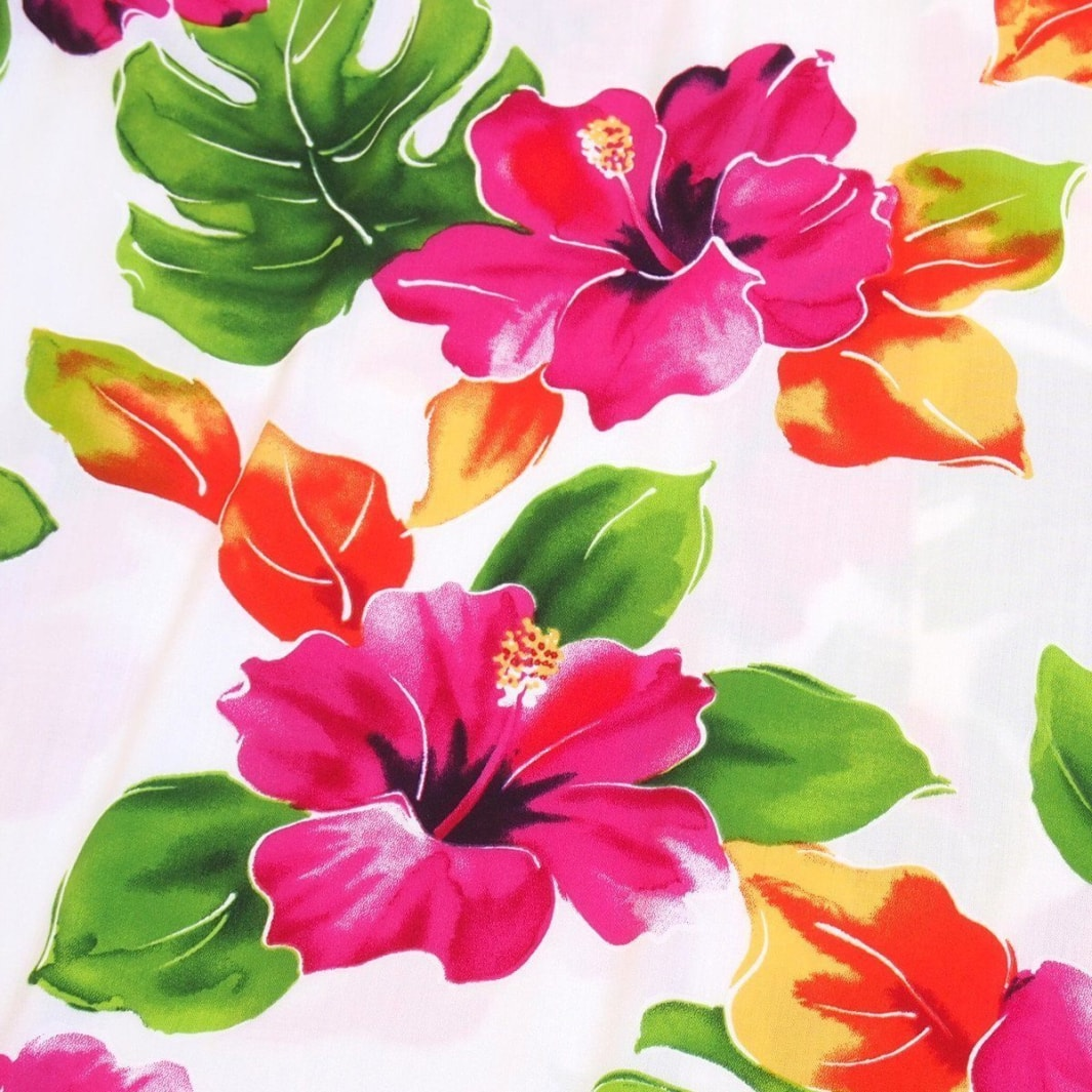 hoopla white hawaiian fabric | hawaiian fabric rayon