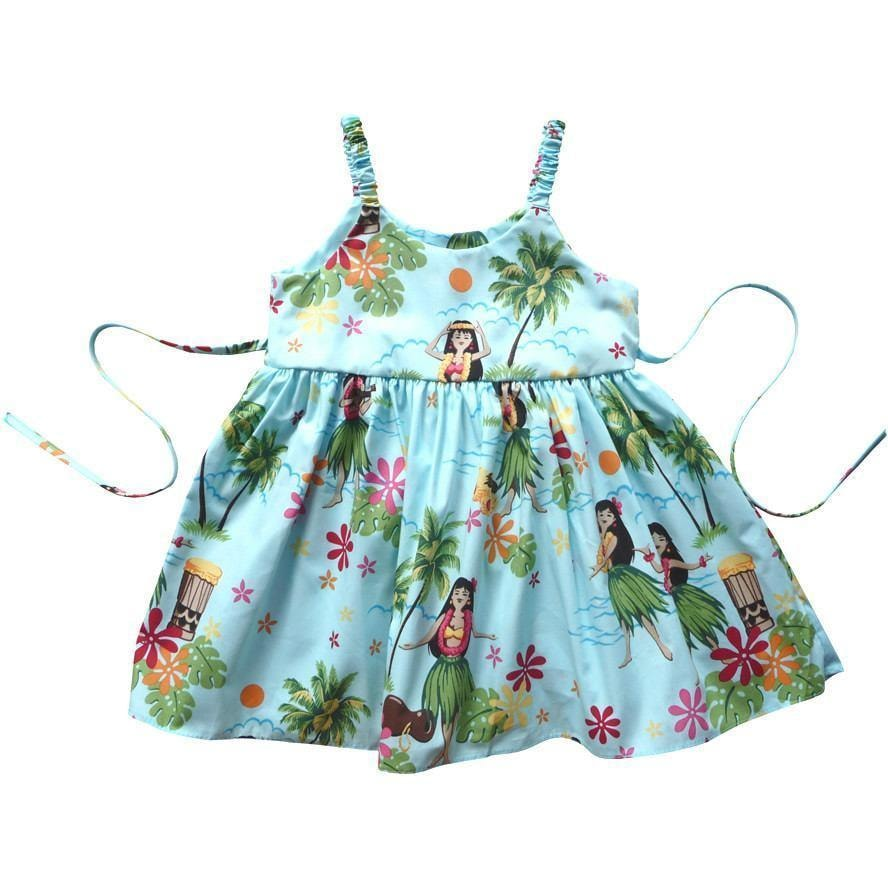 hula girl blue hawaiian girl sundress | hawaiian girl dress