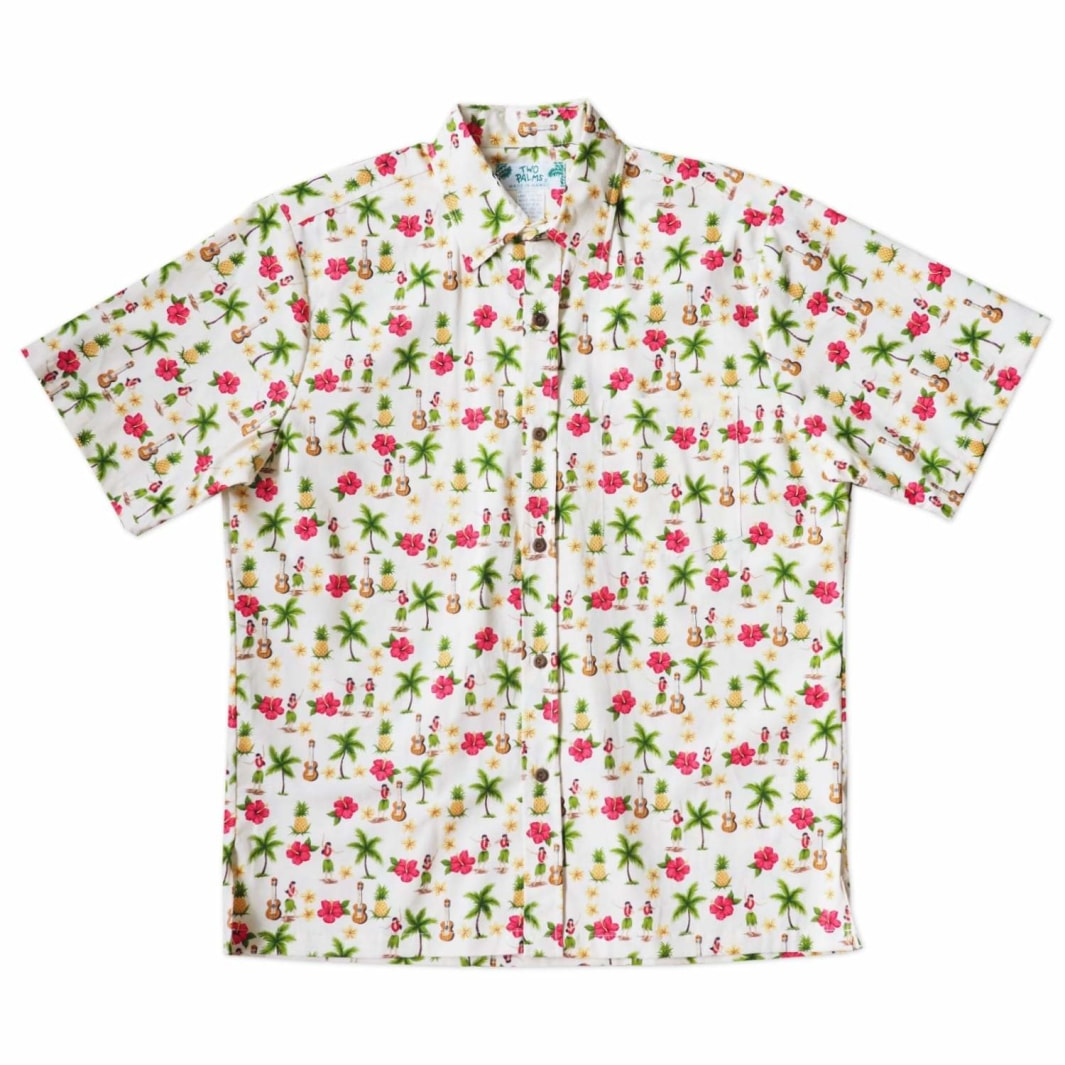 hula girl cream hawaiian cotton shirt | hawaiian shirt men
