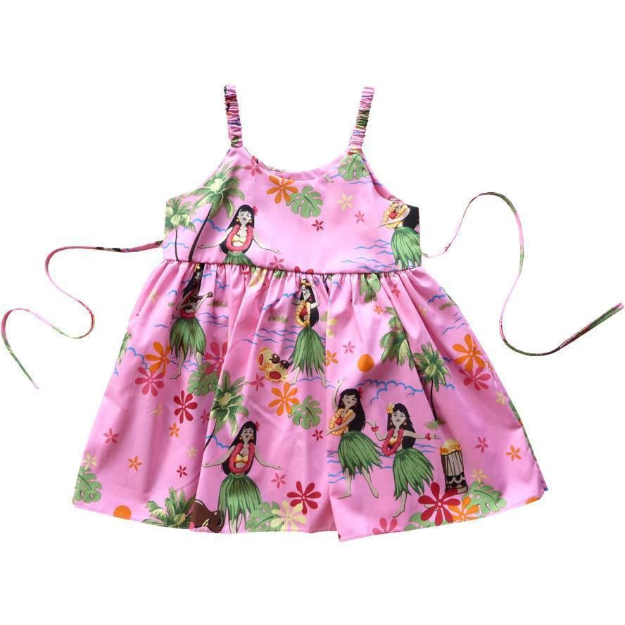 hula girl pink hawaiian girl sundress | hawaiian girl dress