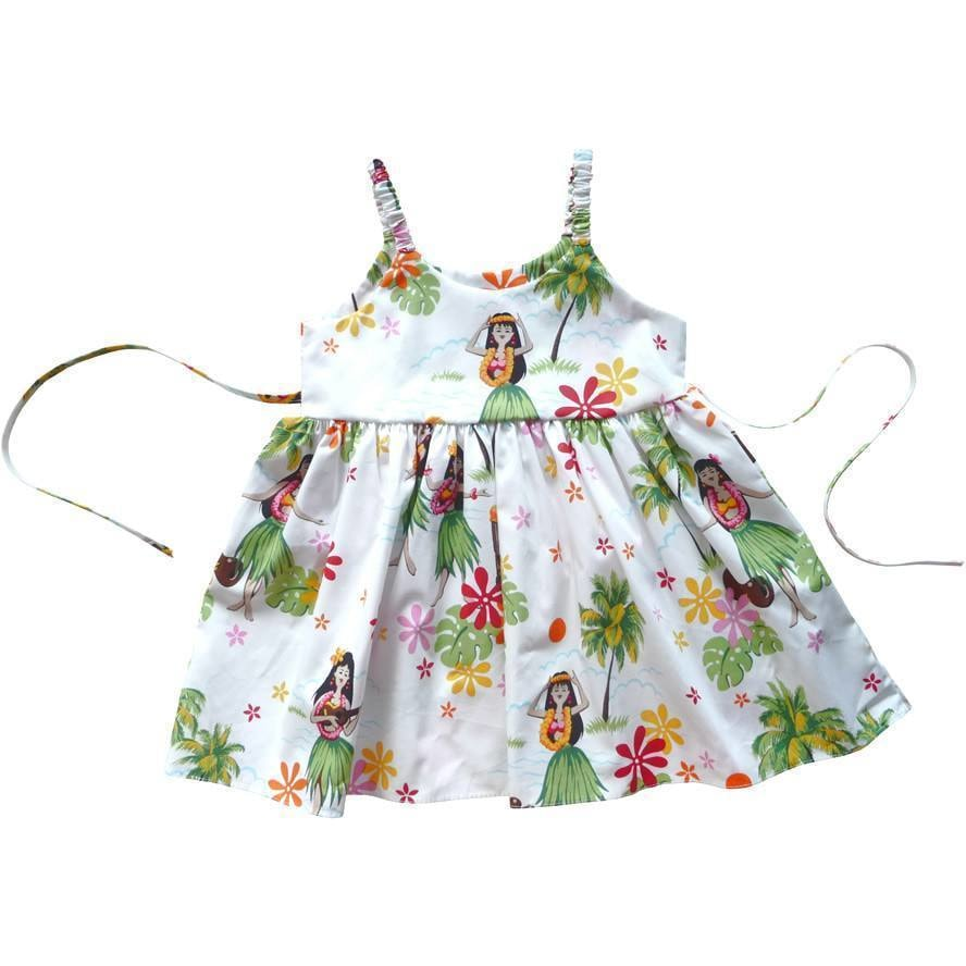 hula girl white hawaiian girl sundress | hawaiian girl dress