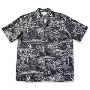 island hop black hawaiian rayon shirt | hawaiian men shirt