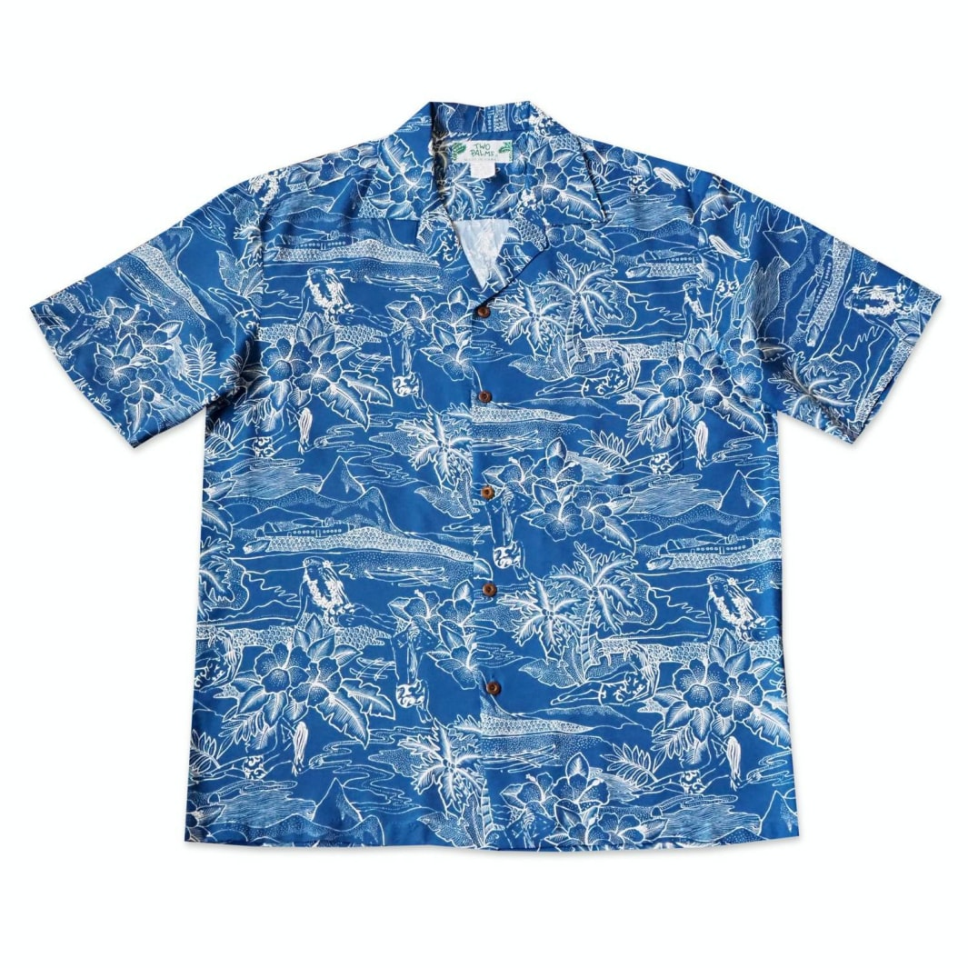 island hop blue hawaiian rayon shirt | hawaiian men shirt
