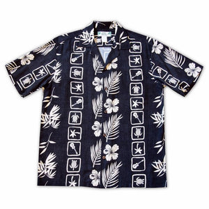 island jam black hawaiian rayon shirt | hawaiian men shirt