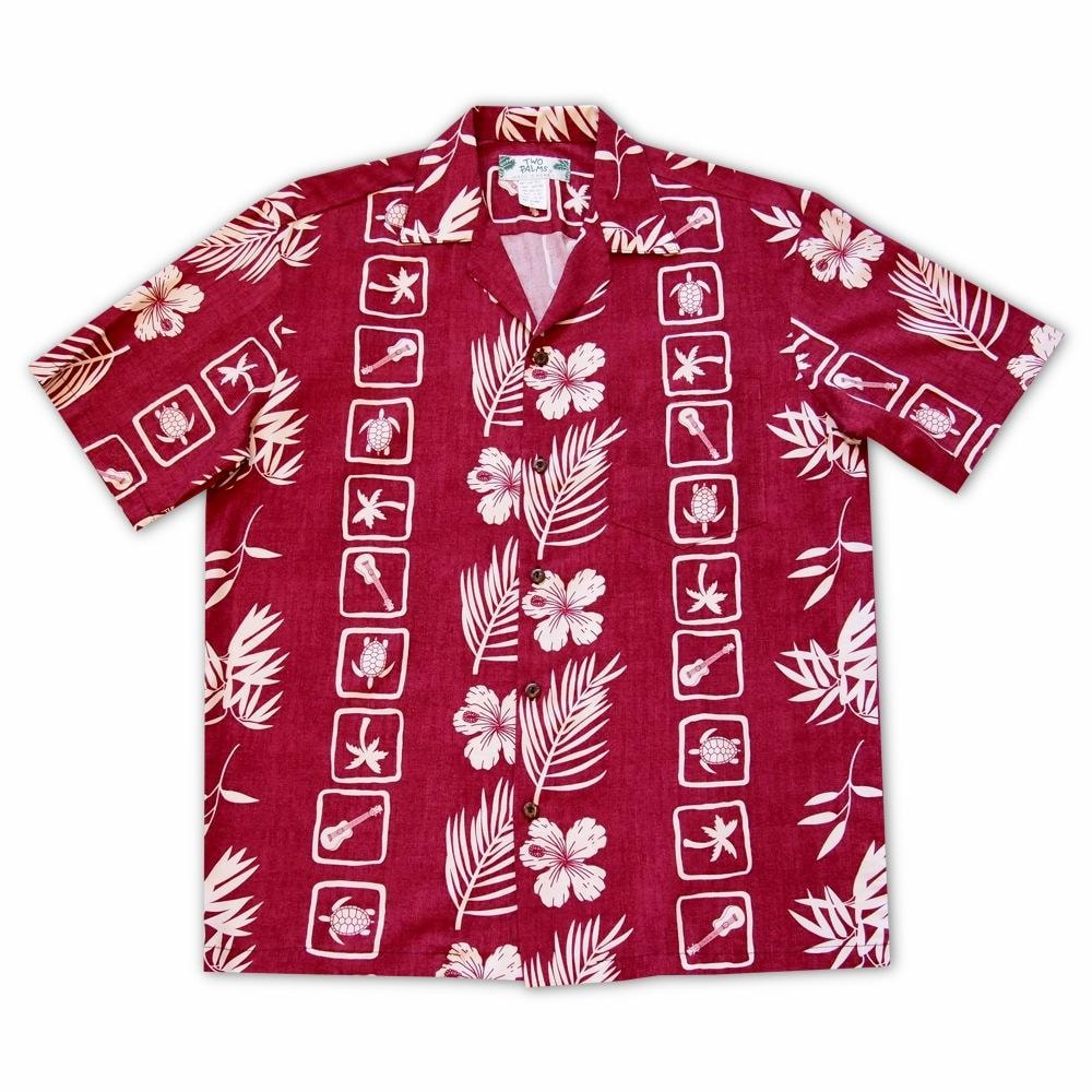 island jam red hawaiian rayon shirt | hawaiian men shirt