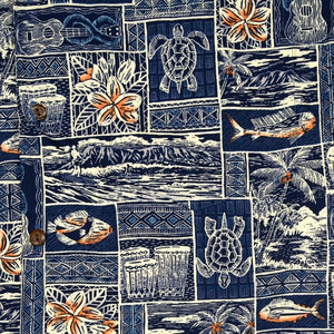island life blue hawaiian cotton shirt | hawaiian shirt men
