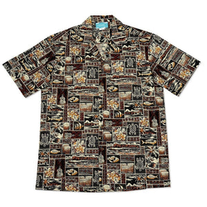 island life brown hawaiian cotton shirt | hawaiian shirt men