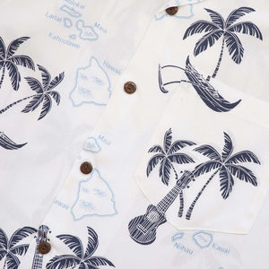 island voyage white hawaiian rayon shirt | hawaiian men shirt