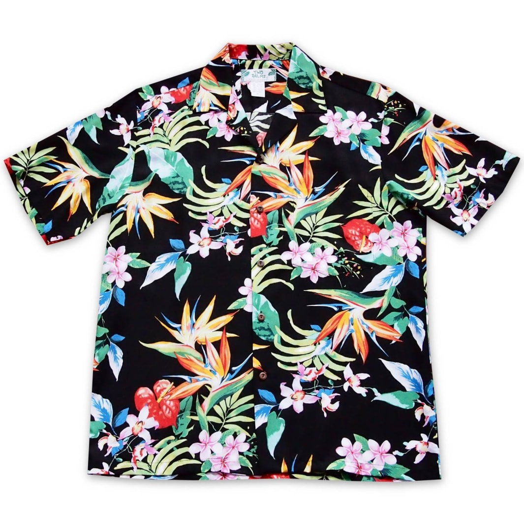 jungle black hawaiian rayon shirt | hawaiian men shirt