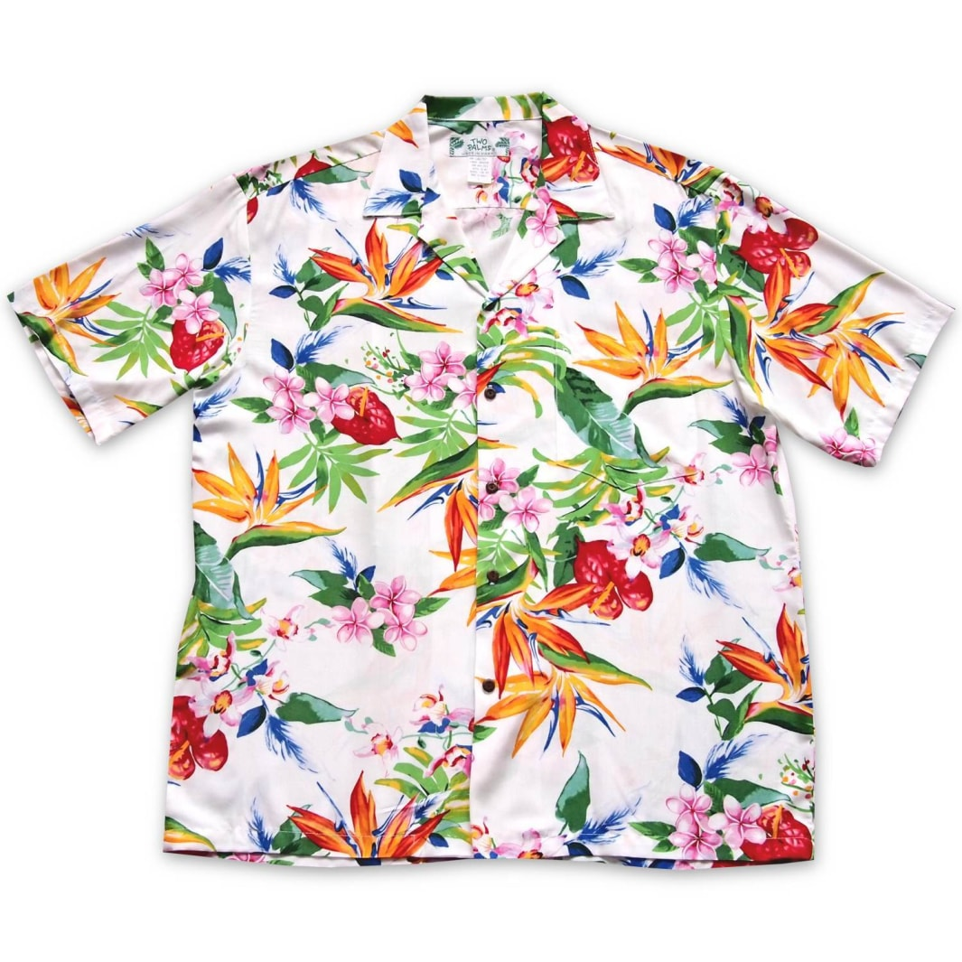 jungle white hawaiian aloha rayon shirt | hawaiian men shirt