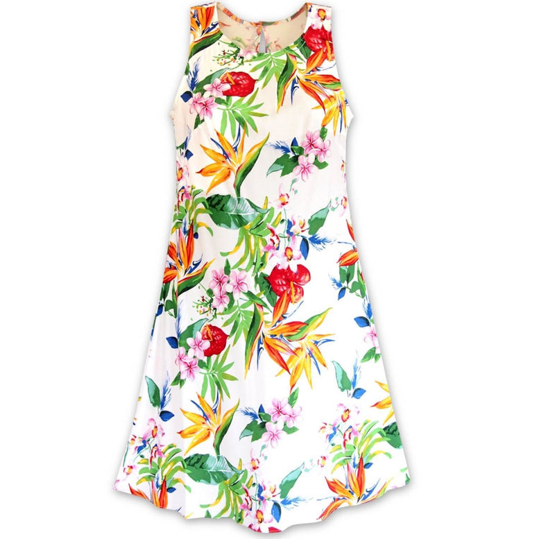 jungle white hawaiian rhythm short dress | short dress hawaiian
