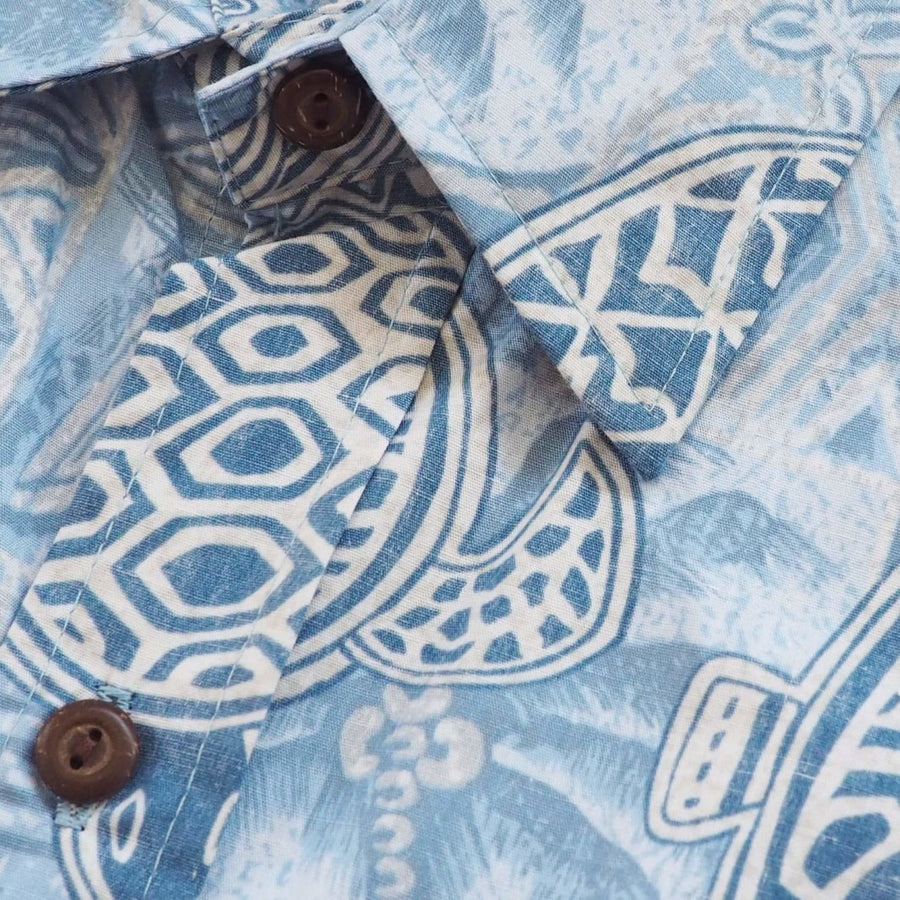 kaena blue reverse print hawaiian cotton shirt | hawaiian shirt men