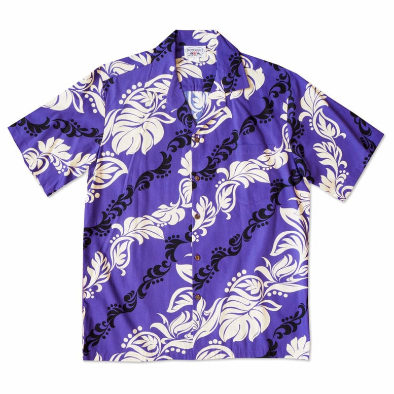 kalaheo purple hawaiian cotton shirt | hawaiian shirt men