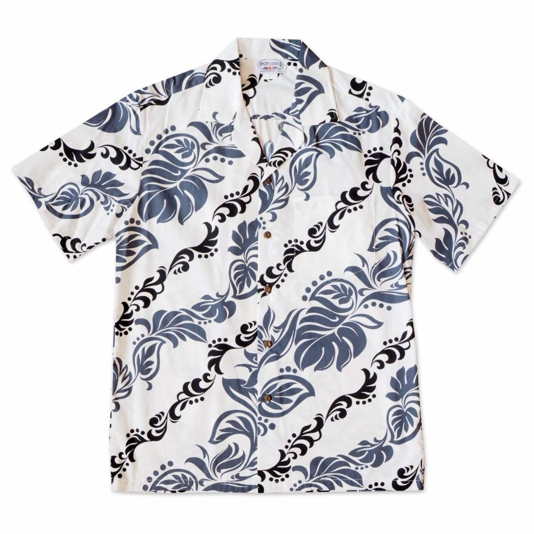kalaheo white hawaiian cotton shirt | hawaiian shirt men