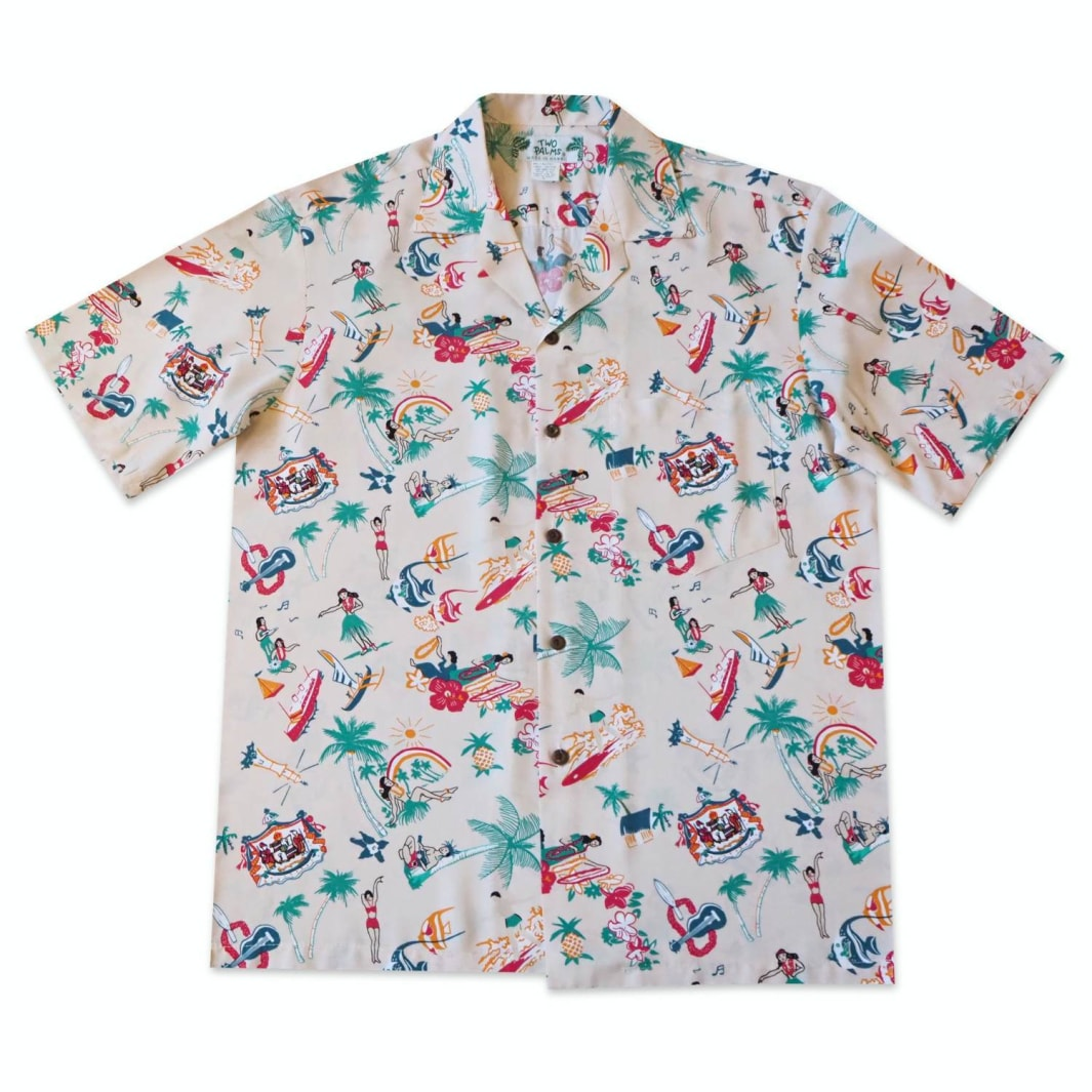 kalakaua cream hawaiian rayon shirt | hawaiian men shirt